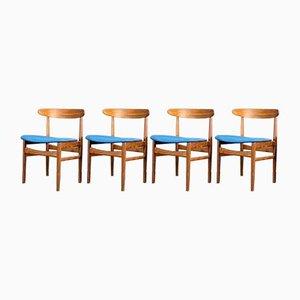 Dänische Mid-Century Teak Esszimmerstühle, 1960er, 4er Set