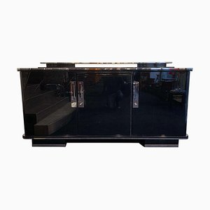 Large Art Deco German Black Lacquer and Nickel Sideboard, 1930s
