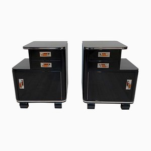 Art Deco French Black Piano Lacquer and Nickel Nightstands, 1930s, Set of 2