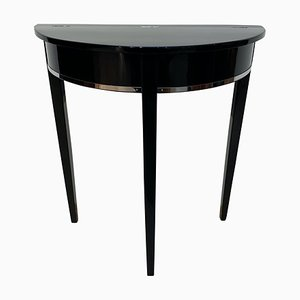 Art Deco French Black Piano Lacquer and Oak Demi-Lune Console Table, 1930s