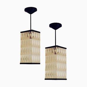 Opaque Molded Plastic Lantern Pendant Lamps, 1950s, Set of 2