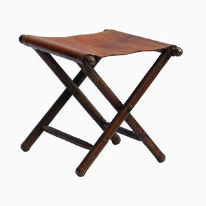 Antique Oak, Brass, and Leather Folding Campaign Stool, 1910s