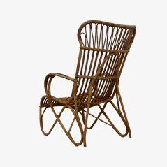 Vintage Rattan Lounge Stuhl von Rohé Noordwolde