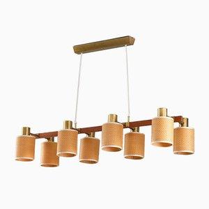 Mid Century-Modern Swedish Teak & Rattan Ceiling Lamp from Ateljé Lyktan, 1960s