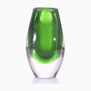 Green Glass Vase by Gunnel Nyman, 1950s