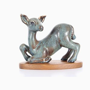 Mid-Century Modern Scandinavian Ceramic Fawn by Gunnar Nylund for Rörstrand