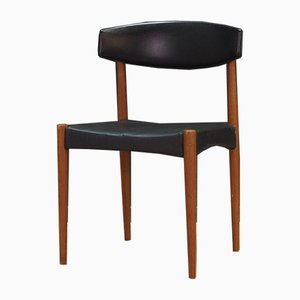 Mid-Century Danish Black Leather Side Chair, 1970s