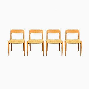 Mid-Century Danish Teak Model 75 Dining Chairs by Niels Otto Møller for J.L. Møllers, 1960s, Set of 4