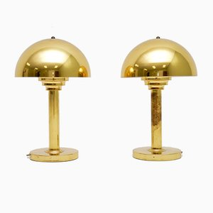 Vintage Danish Brass Table Lamps, 1970s, Set of 2