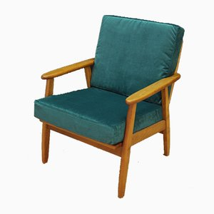 Mid-Century Danish Green Velour Armchair, 1970s