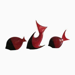 Murano Glas Fisch Skulpturen, 1960er, 3er Set