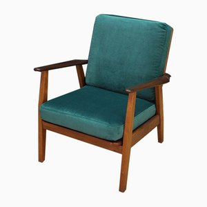 Mid-Century Danish Green Velour and Teak Armchair, 1970s