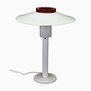 Mid-Century Danish White and Red Metal Table Lamp, 1970s