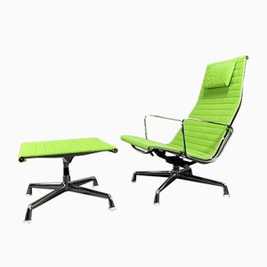 Model EA124 Lounge Chair and Model EA125 Stool Set by Charles & Ray Eames for Vitra, 1970s