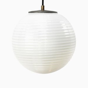 Mid-Century Striped Opaline Glass & Metal Pendant Lamp