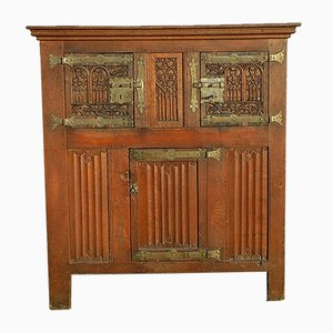 Antique Gothic Oak Flanders Cupboard