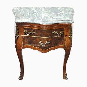 Tables de Chevet Antique en Noyer et en Marbre, Set de 2