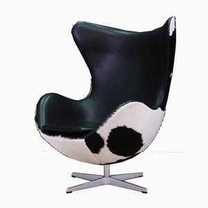 Dänischer Mid-Century Sessel aus Stahl & Leder von Arne Jacobsen für Fritz Hansen, 1980er