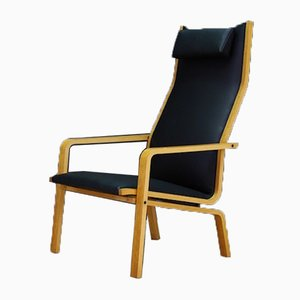 Mid-Century Danish Ash and Eco Leather Model 4335 Lounge Chair by Arne Jacobsen for Fritz Hansen, 1960s