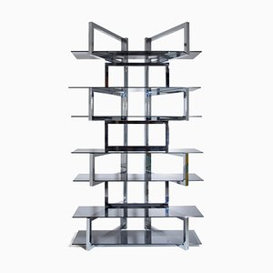 Vintage Italian Chrome Shelf by Renato Zevi, 1970s
