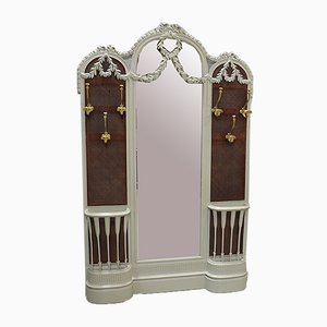Antique Louis XVI Wall Rack with Mirror & Cannage, 1900s