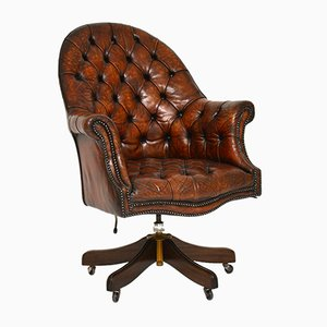 Vintage Leather and Mahogany Swivel Desk Chair, 1930s