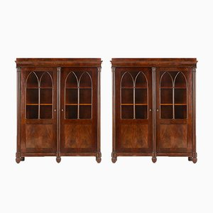 Antique French Empire Bookcases, Set of 2