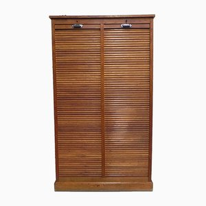 Mid-Century Oak Shutter Cabinet, 1950s