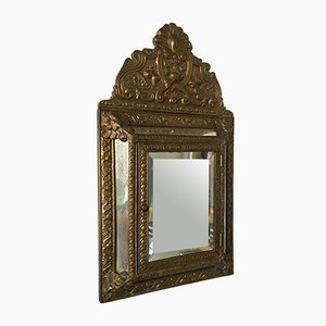 Antique French Regency Brass Hall Mirror with Compartment