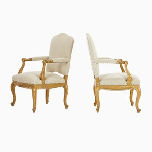 Antique Italian Gilt Armchairs, Set of 2