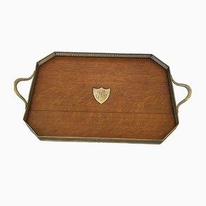 Vintage Tablett aus Holz & Messing
