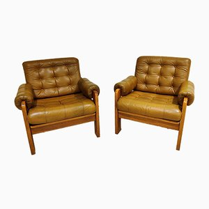 Leather Lounge Chairs, 1960s, Set of 2