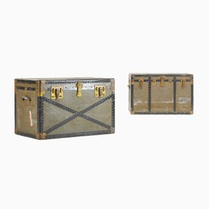 Metal & Wood Trunks by Excelsior USA, 1940s, Set of 2