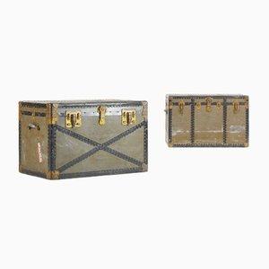 Truhen aus Metall & Holz von Excelsior USA, 1940er, 2er Set