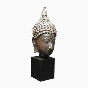Antique Bronze Buddha Head Sculpture