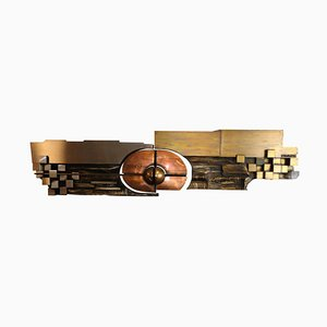 Large Hammered Copper, Brass and Steel Artwork by Carlos Marinas, 1975