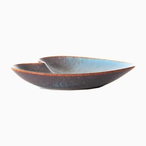 Brown & Blue Matte Haresfur Glaze AXA Bowl by Gunnar Nylund for Rörstrand