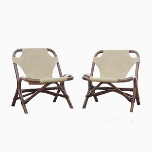 Rattan & Leather Lounge Chairs, 1960s, Set of 2