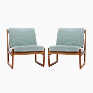 Mid-Century Modern Scandinavian Model 130 Lounge Chairs by Peter & Orla Hvidt & Mølgaard-Nielsen for France & Søn, Set of 2