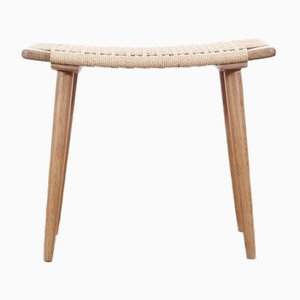 Mid-Century Modern Oak & Paper Cord Stool or Ottoman by Galerie Møbler