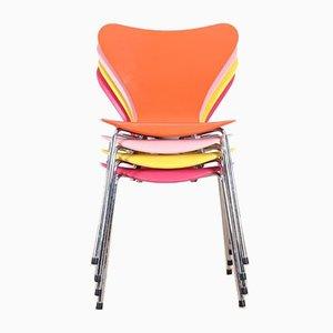 Skandinavische Mid-Century Modell 7 Stühle von Arne Jacobsen, 1950er, 4er Set