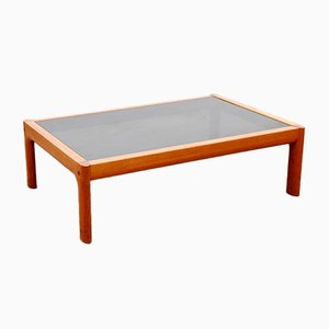 Large Mid-Century Scandinavian Teak and Black Glass Coffee Table, 1970s