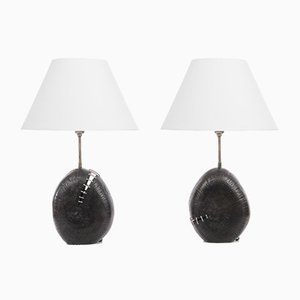 Burned Wood Lamps Yvon, Set of 2