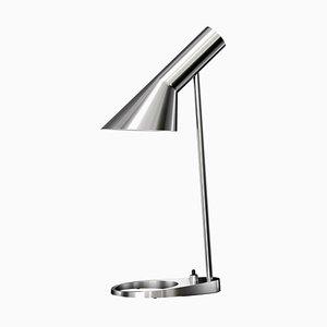 Polierte Mid-Century AJ Tischlampe aus poliertem Edelstahl von Arne Jacobsen für Louis Poulsen