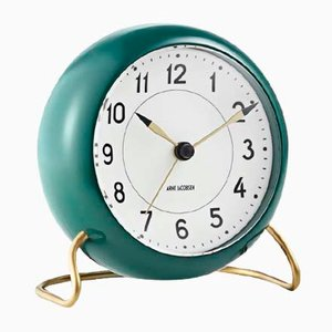 Green & White Station Table Clock by Arne Jacobsen, 1930s