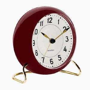 Dark Red & White Station Table Clock by Arne Jacobsen, 1930s