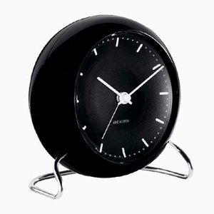 Black Station Table Clock by Arne Jacobsen, 1930s