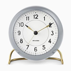 Grey & White Station Table Clock by Arne Jacobsen, 1930s