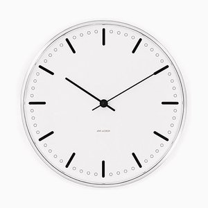 White & Black Royal City Hall Wall Clock by Arne Jacobsen, 1950s
