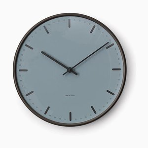Royal Blue & Anodised Aluminium City Hall Wall Clock by Arne Jacobsen, 1950s